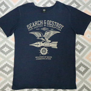 Vintage OBEY Search and Destroy Navy Shirt